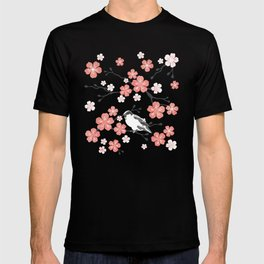 Navy blue cherry blossom finch T-shirt