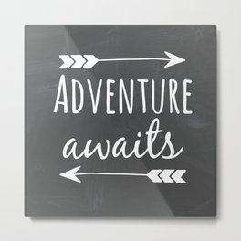 Adventure Awaits Chalkboard Metal Print