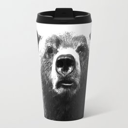 Black and white bear portrait Travel Mug