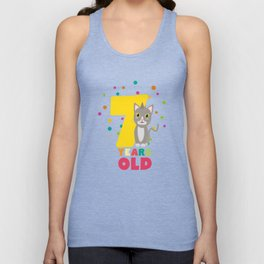 Seven Years seventh Birthday Party Cat Dkp39 Unisex Tank Top