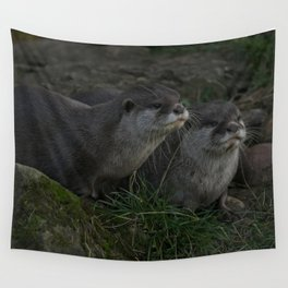 Otter Pair Wall Tapestry