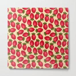 Strawberry Print - Yellow BG Metal Print