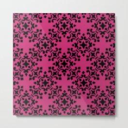 Vintage Brocade Damask Pink Yarrow Metal Print