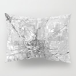 Indianapolis White Map Pillow Sham