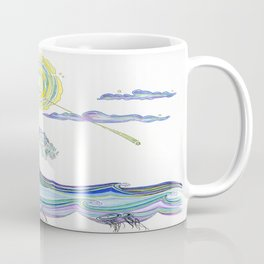 SurfGirl Swinging Over Waves  Coffee Mug