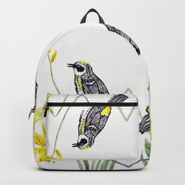 Yellow Rumped Warbler bird watercolor painting Backpack