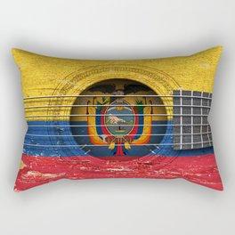 Old Vintage Acoustic Guitar with Ecuadorian Flag Rectangular Pillow