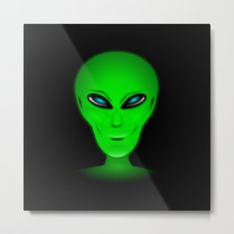 Green Alien Head Metal Print