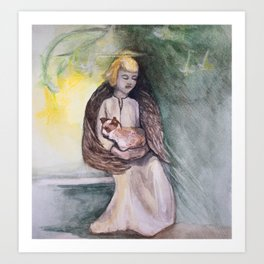 Angel with cat watercolor Art Print
