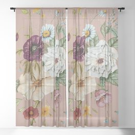Colorful Wildflower Bouquet on Pink Sheer Curtain