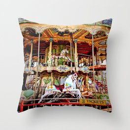 Double Decker Carnival Carousel Horse Throw Pillow