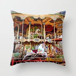Double Decker Carnival Carousel Horse Throw Pillow