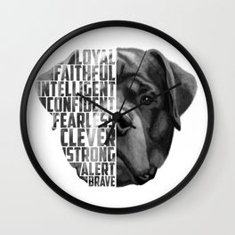 Rottweiler Quote Text Wall Clock