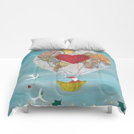 Christmas Santa Claus in a Hot Air Balloon for Peace Comforters