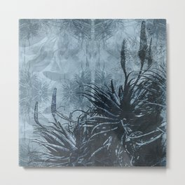 Aloes Black and Blue Metal Print