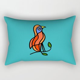 Color Bird on a Twig on Blue Rectangular Pillow