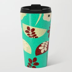 Mushrooms and flowers canvas Metal Travel Mug