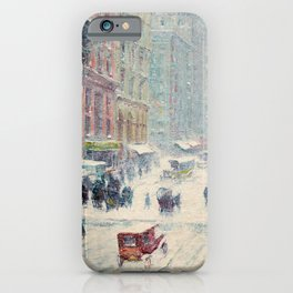 Fifth Avenue, New York City, in Winter landscape painting by Guy Carleton Wiggins iPhone Case