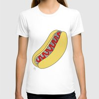 hot dog T-shirts featuring Hot Dog by Amber Lily Fryer