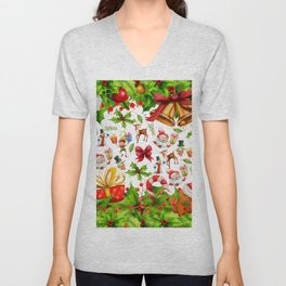 Holiday festive red green holly Christmas pattern Unisex V-Neck