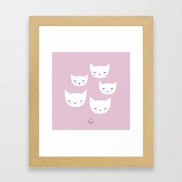 Little sleepy cat kawaii baby kitten nursery print pink girls Framed Art Print