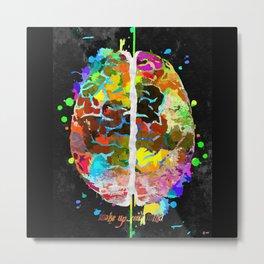 Human Brain Black Metal Print