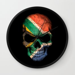 Dark Skull with Flag of South Africa Wall Clock