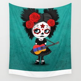 Day of the Dead Girl Playing Armenian Flag Guitar Wall Tapestry