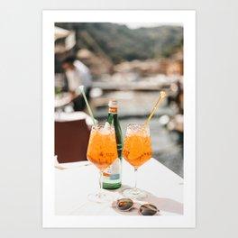Italian Aperol Spritz for two | Spritzen in the Italian Riviera, cocktail photography travel print Art Print