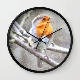 Angelic Robin Watercolor Wall Clock