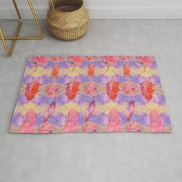 Boho Feather Zig Zag Collage | Watercolor Feather Art Print | Tan Pink Purple Rug