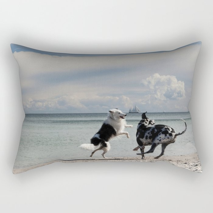 Happy Beach-dogs - Summer Dog Animal Ocean Sea Rectangular Pillow