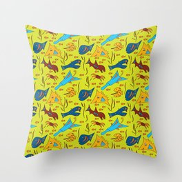 Crazy Fish Throw Pillow