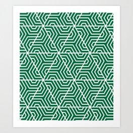 Cadmium green - green - Geometric Seamless Triangles Pattern Art Print