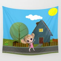chibi Wall Tapestries featuring Chibi Girl by ChibiGirl