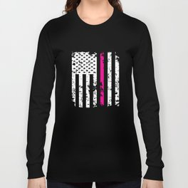Silver Pink Line American Flag Breast Cancer T-Shirts Long Sleeve T-shirt