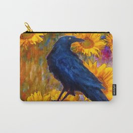 DECORATIVE AWESOME CROW SUNFLOWERS GARDEN ART Carry-All Pouch