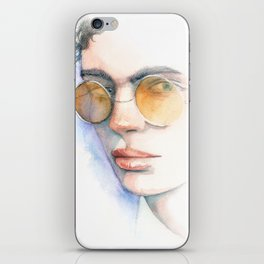 Cool Sunglasses Watercolor Portrait iPhone Skin