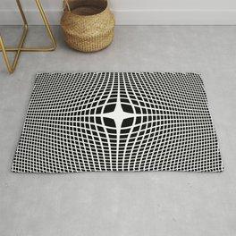 White On Black Convex Rug
