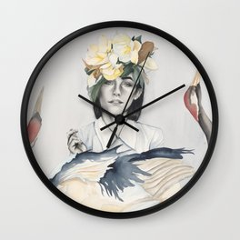 Red Crowned Cranes Watercolor Painting Wall Clock