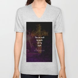 2 Corinthians 5:7 Bible Verse Quote About Faith Unisex V-Neck