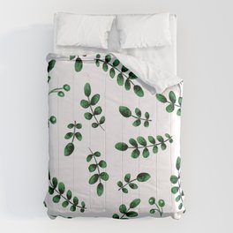 Green Crushed Velvet Sophisticated Graphic Leaves Pattern Comforters