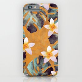 Tropical Monstera Leaf and Plumeria Flower Pattern iPhone Case