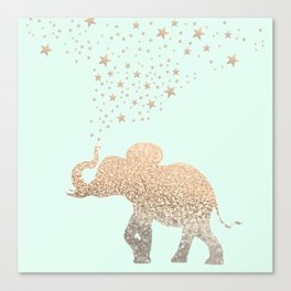 ELEPHANT - GOLD MINT Canvas Print