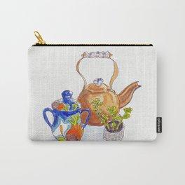 Kitchen Table Vignette: Copper Tea Kettle with Delft Trim, Art Deco Sugar Bowl, Succulent Carry-All Pouch