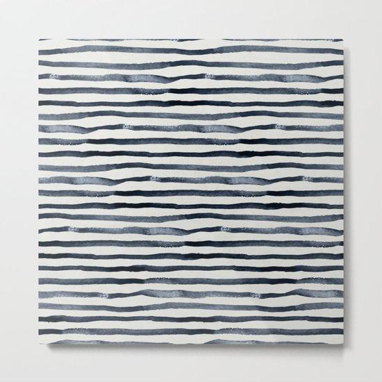 Simply Shibori Stripes Indigo Blue on Lunar Gray Metal Print