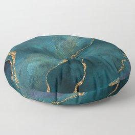Golden Gemstone Glamour Mineral Floor Pillow