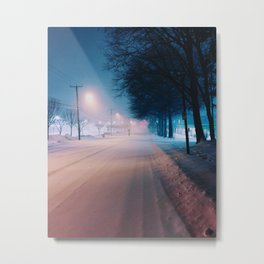 Snowy streets at night Metal Print