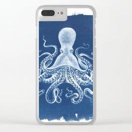 Octopus Cyanotype Clear iPhone Case