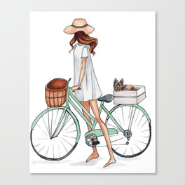 Fashionista with Bike and Dog Canvas Print